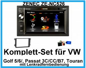 Komplett-Set VW Golf 5, 6 Passat 3C, CC, B7 Touran ZENEC ZE-NC526 Navigation USB