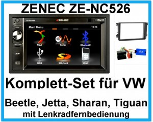 Komplett-Set VW Beetle Jetta Sharan Tiguan ZENEC ZE-NC526 Navigation Bluetooth