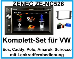 Komplett-Set VW EOS Polo Caddy Amarok Scirocco ZENEC ZE-NC526 Bluetooth