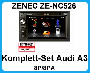 Komplett-Set Audi A3 8P/8PA ZENEC ZE-NC526 Naviceiver Bluetooth USB DVD MP3