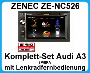 Komplett-Set Audi A3 8P/8PA ZENEC ZE-NC526 Moniceiver Bluetooth USB AUX SD