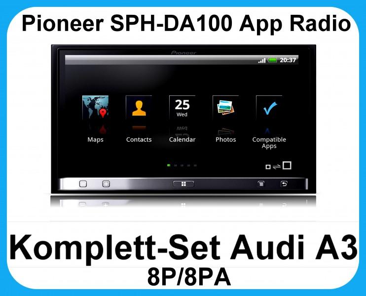 komplett set audi a3 8p 8pa pioneer sph da100 app radio. Black Bedroom Furniture Sets. Home Design Ideas