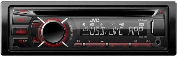 jvc kd r441 cd mp3 autoradio mit usb und aux in rote. Black Bedroom Furniture Sets. Home Design Ideas