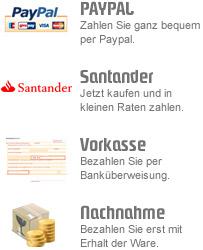 Paypal, Santander, Vorkasse, Nachnahme