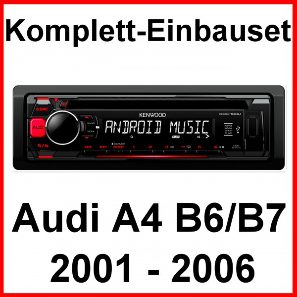 komplett set audi a4 b6 b7 kenwood kdc 100ur autoradio usb mp3 wma cd aux fahrzeugspezifisch vw. Black Bedroom Furniture Sets. Home Design Ideas