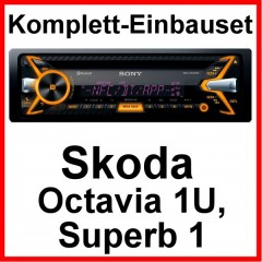 komplett set skoda octavia 1u superb 1 sony mex n5100bt. Black Bedroom Furniture Sets. Home Design Ideas