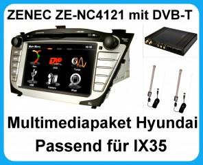 ZENEC ZE-NC4121D Navigation + ZE-DVBT50 DVB-T Tuner Hyundai iX35 USB Bluetooth