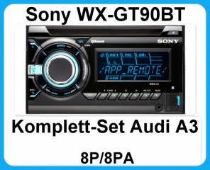 komplett set audi a3 8p 8pa sony wx gt90bt usb mp3 cd autoradio aux bluetooth ebay. Black Bedroom Furniture Sets. Home Design Ideas